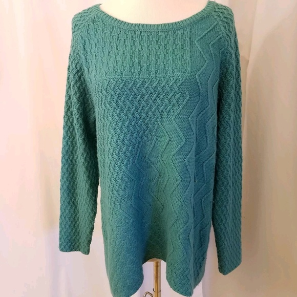 89th Madison Sweaters Womens Xl Cable Knit Sweater Turquoise
